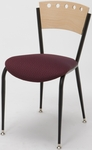 3800 Series Steel Frame Armless Cafe Chair with Contoured Wood Design Back and 2'' Upholstered Seat [3818A-IFK]