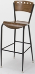 3818A Series Steel Frame Armless Cafe Barstool with Contoured Wood Design Back and Wood Seat - Walnut [BR3818A-QS-ST08-IFK]