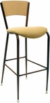 3818C Series Steel Frame Armless Cafe Barstool with Contoured Solid Wood Back and 2'' Upholstered Seat [BR3818C-IFK]