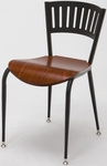 3800 Series Round Steel Frame Armless Cafe Chair with Contoured Slatted Metal Back with Wood Seat [3818LA-WOOD-IFK]