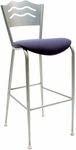 3818LB Series Steel Frame Armless Cafe Barstool with Contoured Wave Design Back and 2'' Upholstered Seat [BR3818LB-IFK]