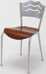 3800 Series Round Steel Frame Armless Cafe Chair with Contoured Wave Design Back and Wood Seat [3818LB-WOOD-IFK]