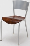 3800 Series Round Steel Frame Armless Cafe Chair with Contoured Metal Back and Wood Seat [3818LC-WOOD-IFK]
