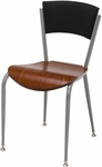 3800 Series Round Steel Frame Armless Cafe Chair with Contoured Upholstered Back and Wood Seat [3818P-WOOD-IFK]
