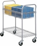 39'' W x 18.75'' D x 38.5'' H Wire Welded Mail Cart with Bottom Shelves - Gray [5236GR-FS-SAF]