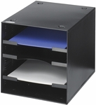 10'' H Four Compartment Steel Desktop Organizer - Black [3112BL-FS-SAF]