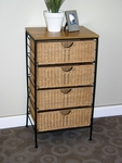 Wicker and Metal 4 Drawer Storage Chest with Wood Top [263070-FS-DCON]