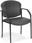 Manor Anti-Microbial and Anti-Bacteria Vinyl Guest and Reception Chair with Arms - Charcoal Vinyl [404-VAM-604-MFO]