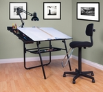 Ultima 4 Piece Drafting Desk Set includes Lamp and Maxima II Drafting Chair - Black [19645-FS-SDI]