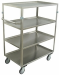 4 Shelf Stainless Steel 48'' H Cart with Shelf Lips Up [ZX236-U5-AS-JAM]