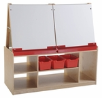 Four Station Dry Erase Board Art Easel with Birch Hardwood Storage Base [ELR-0692-ECR]
