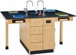 4 Station Wooden Science Center with 1'' Thick Black Epoxy Resin Top and Locking Drawers - 66''W x 48''D x 36''H [C2416K-DW]