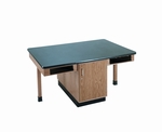 4 Station Science Table with Book Apron and Door Cabinet [C2301K-DW]