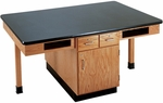4 Station Wooden Science Table with 1.25'' Thick Black Plastic Laminate Top, Book Storage Compartments, and Locking Drawers - 66''W x 42''D x 30''D [C2401K-DW]