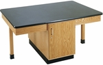 4 Station Wooden Science Table with 1.25'' Thick Black ChemGuard Top and Locking Cabinet - 66''W x 42''D x 30''H [2302K-DW]
