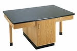 4 Station Science Table with Plain Apron,  Door Cabinet,  and Solid Epoxy Resin Top [2306K-DW]