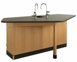 4 Student Forward Vision II Workstation with Sink and Fixtures [2944K-DW]