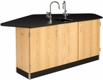 Forward Vision II Wooden Workstation with 1'' Thick Black Phenolic Resin Top and Sink - 88''W x 46''D x 36''H [2944K-DW]