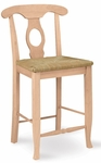 Empire Traditional Solid Parawood 24''H Counter Height Stool with Rush Seat - Unfinished [S-122-FS-WHT]