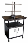 40''H Molded Plastic Mobile TV Cart with Locking Cabinet - Black [LE40CWTUD-B-FS-LUX]