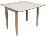 Butcher Block Top Solid Wood 40''W X 29''H Square Dual Drop Leaf Dining Table - Unfinished [T-40DS-FS-WHT]