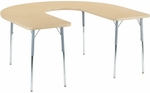 4000 Series Deep-Center Horseshoe Top Laminate Activity Table with Wheelchair Height Legs - 60''W x 66''D x 26''H - 34''H [48HORSE60DCW-VCO]