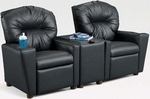Kids 2-Seat Home Theatre Set with Armrest Drink Holders and Storage Console [401SC-2SEAT-FS-BZ]