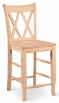 Double X-Back Solid Parawood 24''H Counter Height Stool - Unfinished [S-202-FS-WHT]