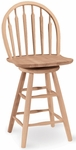 Windsor Solid Parawood 41''H Arrow Back Swivel Counter Height Stool - Unfinished [S-612-FS-WHT]