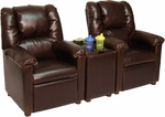 Kids 2-Seat Home Theatre Set with Storage Console- Brown Vinyl [4199TS-2SEAT-FS-BZ]