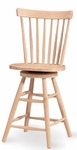 Copenhagen Solid Parawood Armless Spindle Back 42''H Swivel Counter Stool - Unfinished [285-24-FS-WHT]