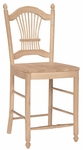 Sheaf Back Solid Parawood 42''H Counter Height Stool - Unfinished [S-162-FS-WHT]