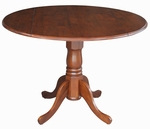 Solid Wood 42'' Diameter Round Dual Drop Leaf Pedestal Dining Table - Espresso [T581-42DP-FS-WHT]