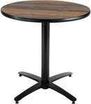 42'' Round Laminate Pedestal Table with Walnut Top - Black Arch Base [T42RD-B2125-WL-IFK]