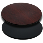 42'' Round Table Top with Reversible Black or Mahogany Laminate Top [BFDH-42BKMAHRD-TDR]