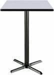 42'' Square Laminate Bistro Height Pedestal Table with Grey Nebula Top - Black X-Base [T42SQ-B2025-38-GN-IFK]