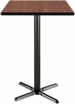 42'' Square Laminate Bistro Height Pedestal Table with Medium Oak Top - Black X-Base [T42SQ-B2025-38-MO-IFK]