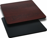 42'' Square Table Top with Reversible Black or Mahogany Laminate Top
