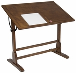Vintage Height Adjustable 42''W x 30''D Solid Wood Drafting Table - Rustic Oak [13305-FS-SDI]