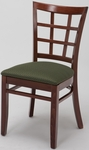 4300 Series Wood Frame Armless Hospitality Chair with Wood Grid Back and Upholstered Seat [4317-IFK]