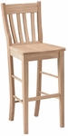 Cafe Classic Solid Parawood 45''H Bar Stool - Unfinished [S-6163-FS-WHT]
