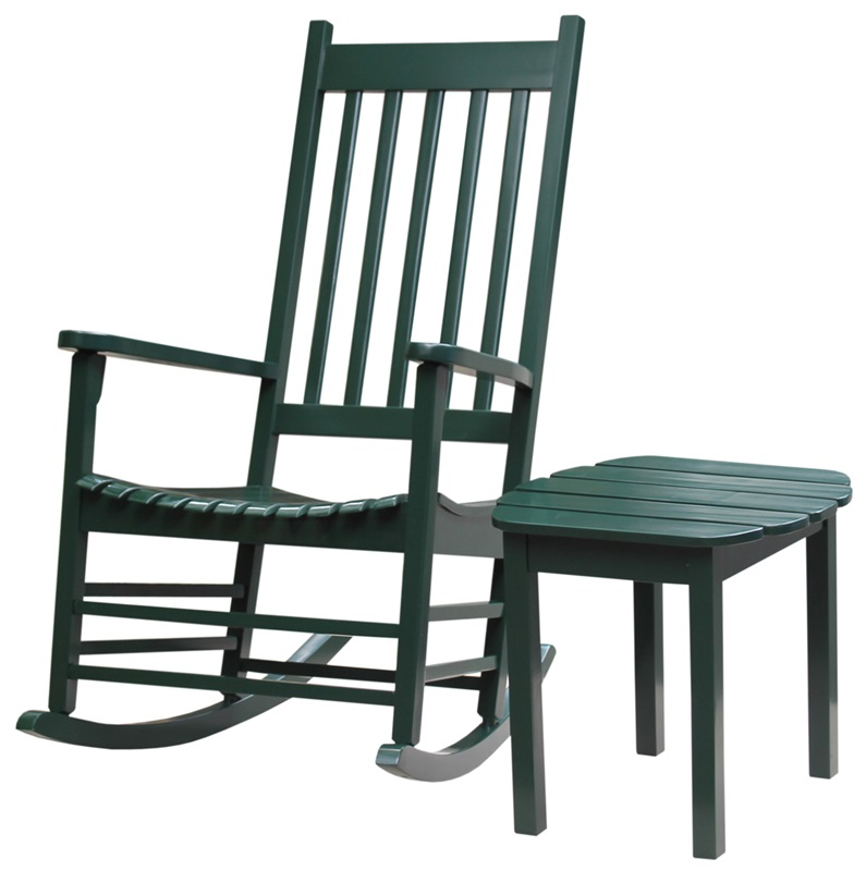Outdoor Solid Acacia Wood 2 Piece 45 H Porch Rocking Chair With 18 H Side Table Hunter Green
