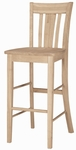 San Remo Solid Parawood 45''H Bar Stool - Unfinished [S-103-FS-WHT]