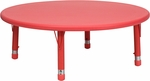 45'' Round Height Adjustable Red Plastic Activity Table [YU-YCX-005-2-ROUND-TBL-RED-GG]