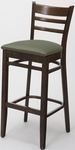 4500 Series Hardwood Frame Armless Cafe Barstool with Ladder Back and Upholstered Seat [BR4505-IFK]
