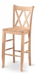 Double X-Back Solid Parawood 29''H Bar Stool - Unfinished [S-203-FS-WHT]
