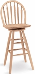 Windsor Solid Parawood 46''H Arrow Back Swivel Bar Stool - Unfinished [S-613-FS-WHT]