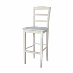 Madrid Solid Parawood 29''H Bar Stool With Ladder Back - Unfinished [S-403-FS-WHT]
