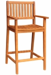 Outdoor Asian Hardwood 47''H Bar Stool with Arms - Oiled Finish [S-53925-FS-WHT]