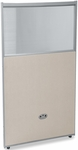 RiZe 47'' H x 25'' W Poly Panel With Translucent Tops and Gray Frame - Beige Vinyl [PG4725-GF-BV-MFO]